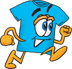 Royalty-free cartoon styled clip art graphic of a blue short sleeved tee shirt character If you would like this character in a different color, please contact customer service. This image is available as an EPS file for an extra $20 fee after purchasing the high resolution. In order to obtain the EPS you will need to contact customer service. You can obtain the EPS files for the whole collection by purchasing the large collection and paying an additional $100.